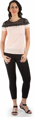 109F Casual Short Sleeve Solid Women's Pink Top