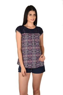 French Creations Casual Short Sleeve Printed Women's Multicolor Top