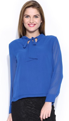 Mast & Harbour Casual Full Sleeve Solid Women's Blue Top