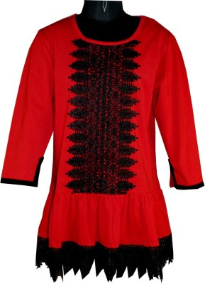 Posh Kids Casual 3/4 Sleeve Solid Baby Girl's Red Top