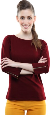 Miss Chase Casual 3/4th Sleeve Solid Women's Maroon Top at flipkart
