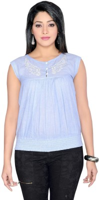 Thinc Casual Sleeveless Embroidered Women's Blue Top