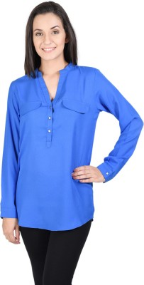 Whistle Casual Full Sleeve Solid Women's Blue Top