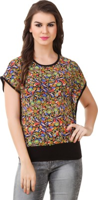 Modattire Casual Short Sleeve Printed Women,s Multicolor Top