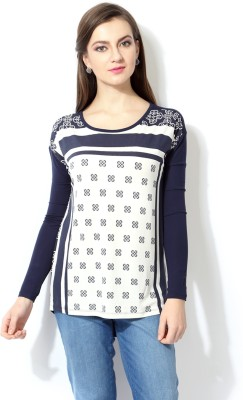 Van Heusen Casual Full Sleeve Geometric Print Women's Dark Blue Top