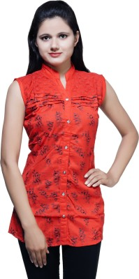 Kiez Casual Sleeveless Printed Women's Red Top