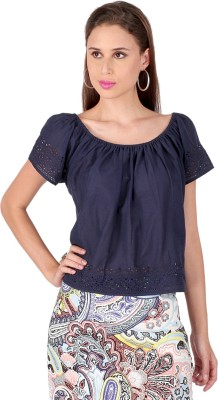 Lemon Chillo Casual Short Sleeve Solid Women's Blue Top