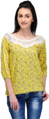 Lmode Casual 3/4 Sleeve Floral Print Women's Yellow Top