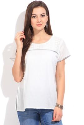 Imara Casual Short Sleeve Solid Women's White Top