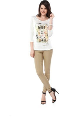 Miss Pink Casual 3/4 Sleeve Graphic Print Girl's Multicolor Top