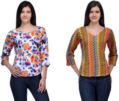 Samayra Casual 3/4 Sleeve Printed Women's Multicolor Top