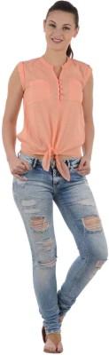 UrbanRebels Casual Cap sleeve Solid Women's Orange Top