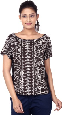 Outré Casual Short Sleeve Printed Women's White, Black Top