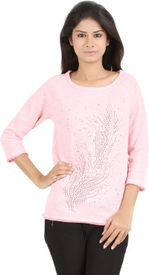 MA Casual 3/4 Sleeve Printed Women's Pink Top