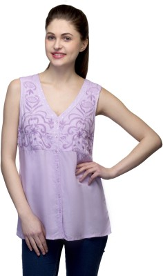 One Femme Party, Formal Sleeveless Solid Women,s Purple Top
