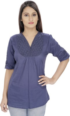 Franclo Casual Roll-up Sleeve Solid Women's Blue Top