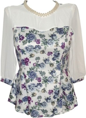 Forever 18 Casual 3/4 Sleeve Solid Women's White Top