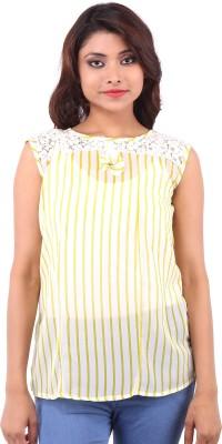 Clo Clu Casual Sleeveless Printed Women,s Yellow Top