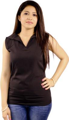 Natty India Casual Sleeveless Solid Women's Black Top