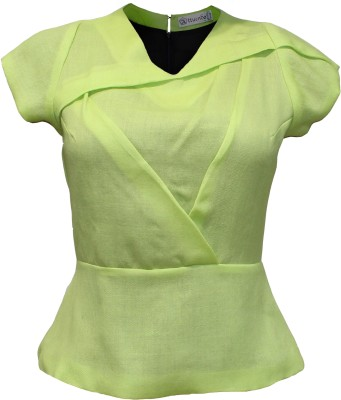 Attuendo Party Short Sleeve Solid Women's Green Top