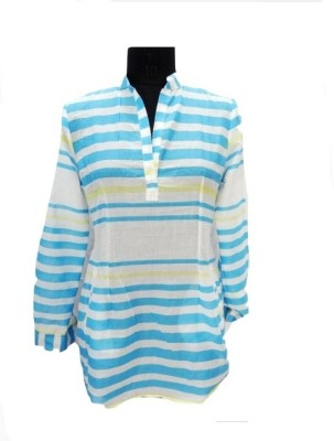 Eleganceranuka Casual Full Sleeve Striped Women's White Top