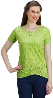 PRAGS Casual Short Sleeve Self Design Women's Light Green Top