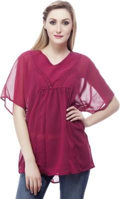 Clo Clu Casual Short Sleeve Embellished Women,s Purple Top