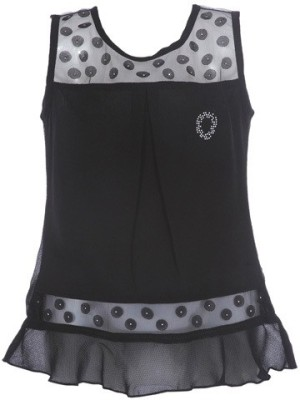 LEI CHIE Casual Sleeveless Self Design Girl's Black Top