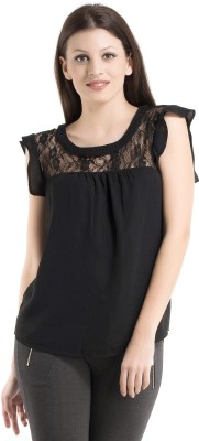 Kazo Casual Cap Sleeve Solid Women's Black Top