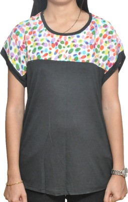 Lazy Dog Casual Short Sleeve Printed Women's Black Top