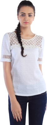 Dewberries Formal Short Sleeve Self Design Women's White Top