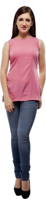 PrettyPataka Casual Sleeveless Solid Women's Pink Top