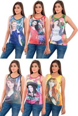Feminine Beach Wear Sleeveless Self Design Women's Multicolor Top