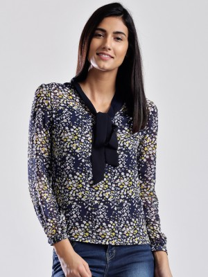 Dressberry Casual Full Sleeve Printed Women's Dark Blue Top