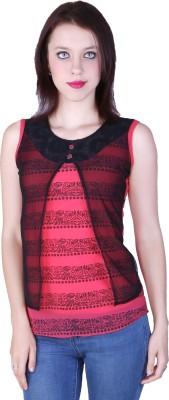 Zavi Casual Sleeveless Printed Women's Red, Black Top