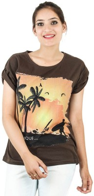 Opiumstreet Casual Roll-up Sleeve Printed Women's Brown Top