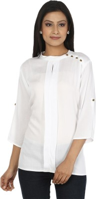 My Swag Casual 3/4 Sleeve Solid Women's White Top