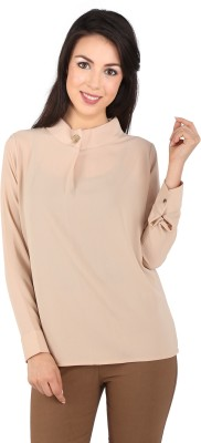 Tenn Casual, Party Full Sleeve Solid Women's Beige Top