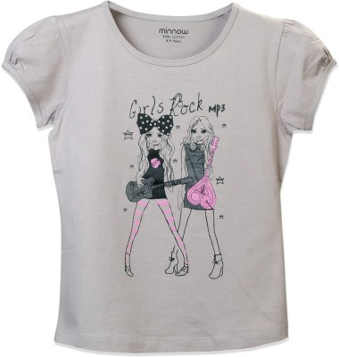 Minnow Casual Short Sleeve Printed Girl's Grey Top