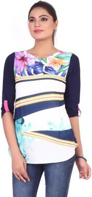 Pink Nine Casual 3/4 Sleeve Floral Print, Embellished Women's Blue Top