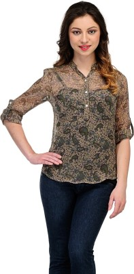 Colornext Casual Roll-up Sleeve Floral Print Women,s Brown Top
