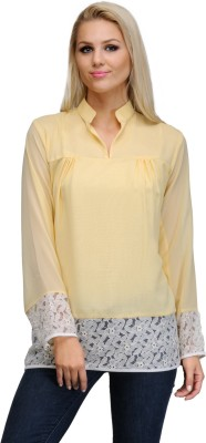 Just Wow Casual Full Sleeve Solid Women's Yellow, White Top
