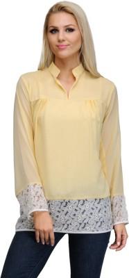 Fashionwalk Casual Full Sleeve Solid Women's Yellow, White Top