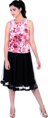Divaz Fashion Casual, Party Sleeveless Floral Print Women's Red, Pink, White Top