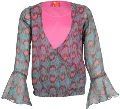 Miss Alibi by Inmark Casual Full Sleeve Floral Print Girl's Green Top