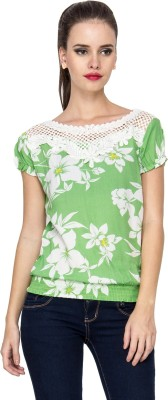 Stylesambram Casual Short Sleeve Embroidered Women's Green Top