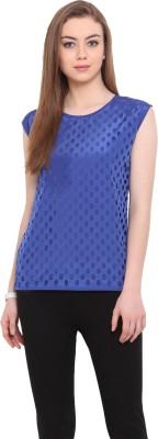 Porsorte Casual Sleeveless Printed Women's Blue Top