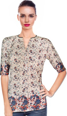 BeforeAfter Casual 3/4 Sleeve Paisley Women's Multicolor Top