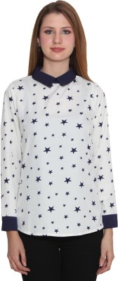 Panit Casual Full Sleeve Printed Women,s White, Blue Top