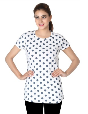 Broche Casual Short Sleeve Polka Print Women's White Top